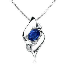 CEYLON SAPPHIRE with diamonds 2.10 carats pendant